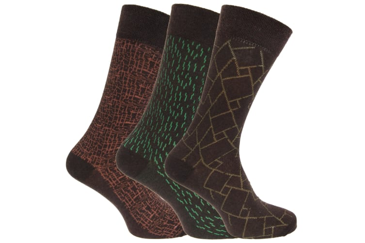 Angelo Cavalli Mens Abstract Patterned Elastic Top Socks (3 Pairs) (Green Lines) (UK 6-11)