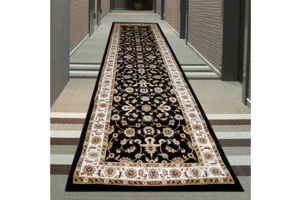 Classic Runner Black with Ivory Border 300x80cm