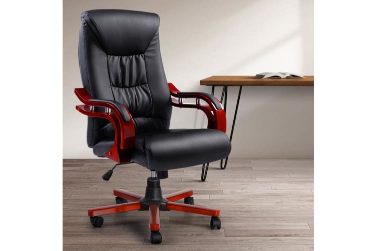 Artiss Office Chair Computer Leather Chairs Executive Wooden Wood Seat Sheridan