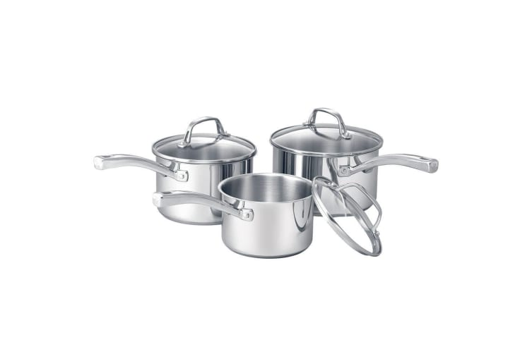 3pc RACO Commercial Stainless Steel Induction Saucepan Kitchen Pan Set Silver