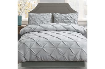 Giselle Bedding Pinch Pleat Diamond Duvet Doona Queen Quilt Cover Set Case Grey