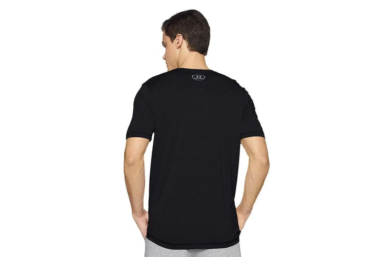 Under Armour Men's Tech V-Neck Tee (Black/Steel, Size Large)