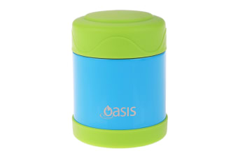 Oasis Kids Insulated Food Flask 300ml - Blue With Green Lid