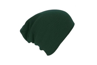 Classic Swag Style Warm And Soft Slouchy Knitted Beanie Cap Green