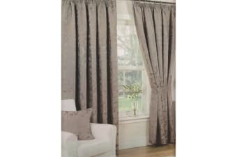 Monaco Patterned Fully Lined Pencil Pleat Curtains (Mink) (46 x 54 (117cm x 137cm))