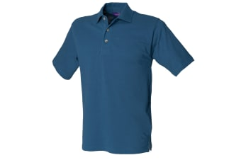 Henbury Mens Classic Plain Polo Shirt With Stand Up Collar (Teal)