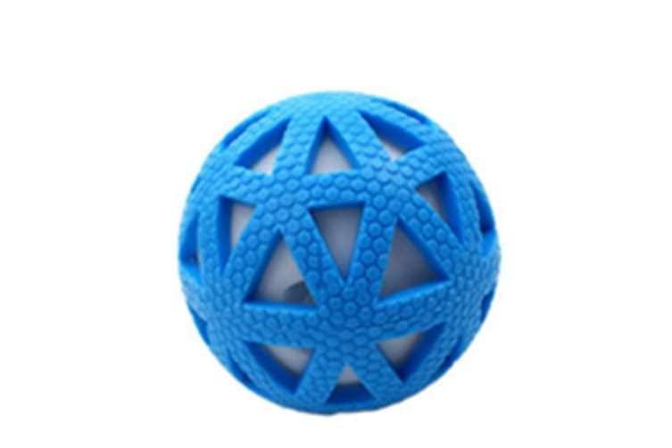 Select Mall 2PCS Creative Pet Toy Grid Glow Ball Vocal Ball 7.5cm Bite Resistant Natural Rubber Toy Suitable for Puppy Kitten-Blue