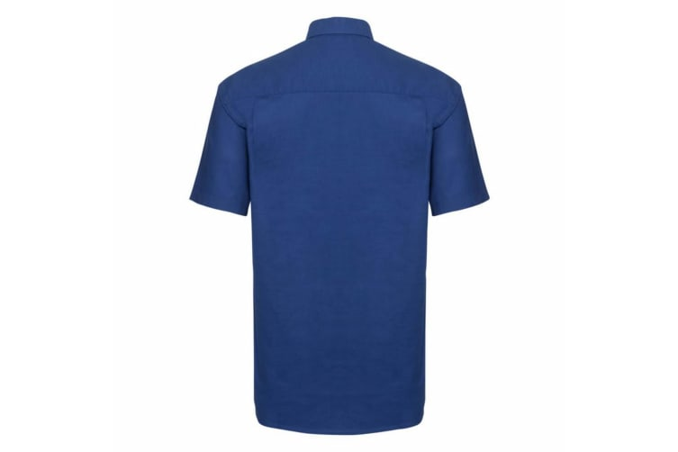 Russell Collection Mens Short Sleeve Easy Care Oxford Shirt (Bright Royal) (18.5inch)