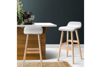 Artiss 2 x Bentwood Bar Stools Wooden Bar Stool Chairs Kitchen Leather White