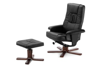Ergolux Faux Leather Recliner Chair with Ottoman (Black)