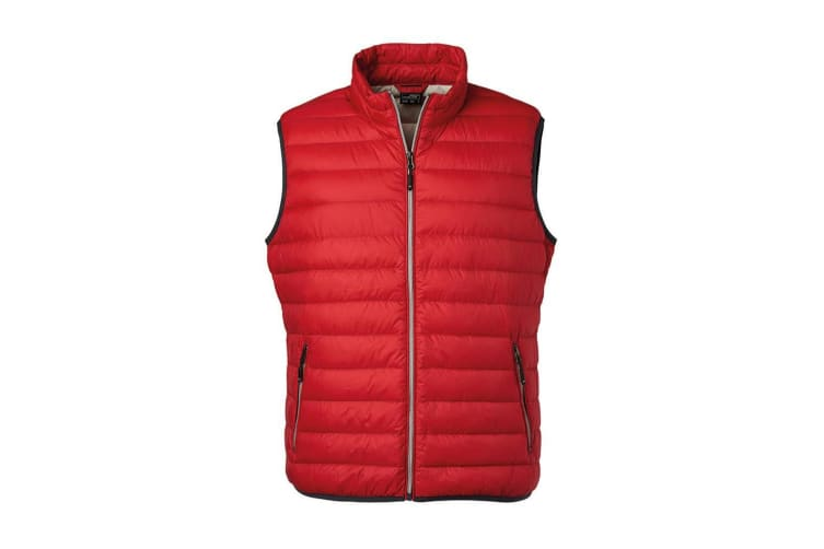 James and Nicholson Mens Light Down Vest (Red/Silver) (L)