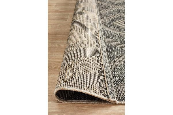 Wyatt Black & Natural Geometric Coastal Runner Rug 300x80cm