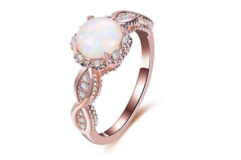 Rose Gold CZ and Created Opal Ring 6