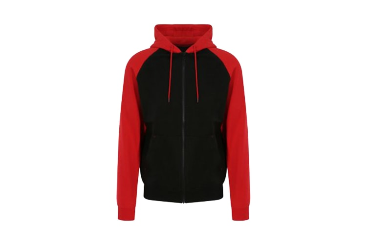 AWDis Just Hoods Mens Baseball Zoodie (Jet Black/Fire Red) (L)