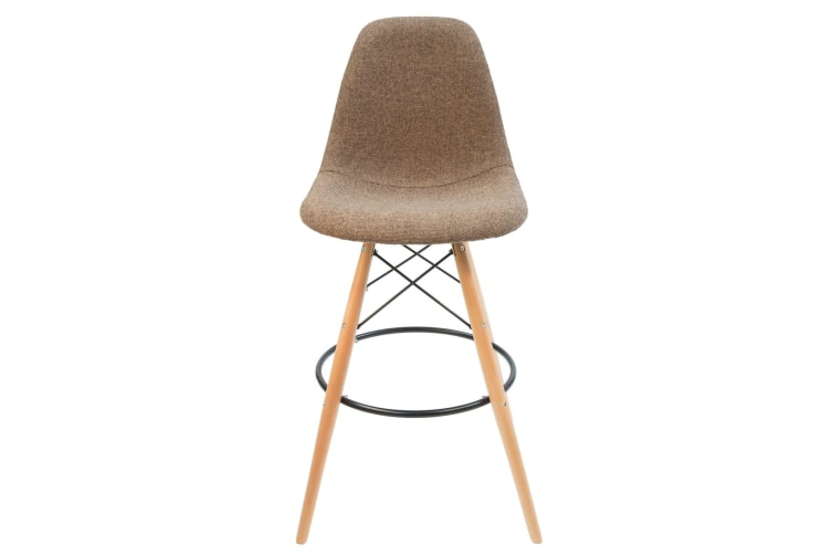 Replica Eames DSW Bar / Kitchen Stool | Light Brown Fabric Seat | Natural Wood Legs