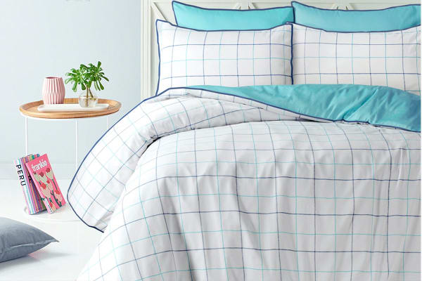 Style & Co 100 % Cotton Reversible Quilt Cover Set (Super King, Water Check)