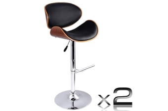 Set of 2 Wooden Kitchen Bar Stool Padded Seat (Black)