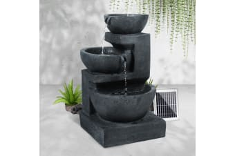 Solar Powered Outdoor Water Fountain Features Cascading Bird Bath