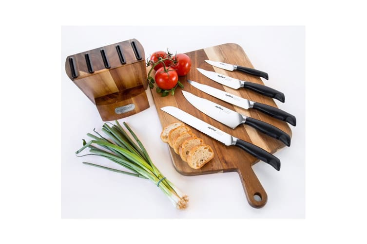 6pc Zyliss Control Knife Block Stainless Steel Cutlery Kitchen Set Chef Knives