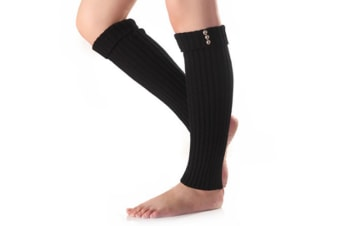 Winter Small Buttons Flanging Knit Leg Warmers Black