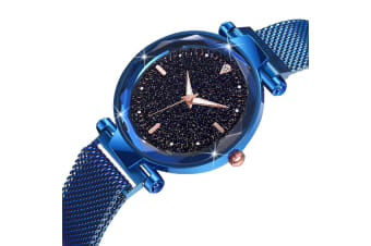 Bullion Gold Sparkly Black Glass Blue Watch Embellished with Rhinestone
