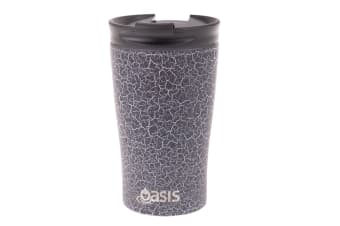Oasis 350ml Stainless Steel Double Wall Insulated Travel Cup Mug Black Crackle