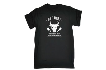 123T Funny Tee - Eat Beef Because The West Wasnt Won On Salad - (X-Large Black Mens T Shirt)