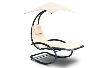 Hanging Curved Chaise Lounge Chair Powder coated steel (Black/Beige)
