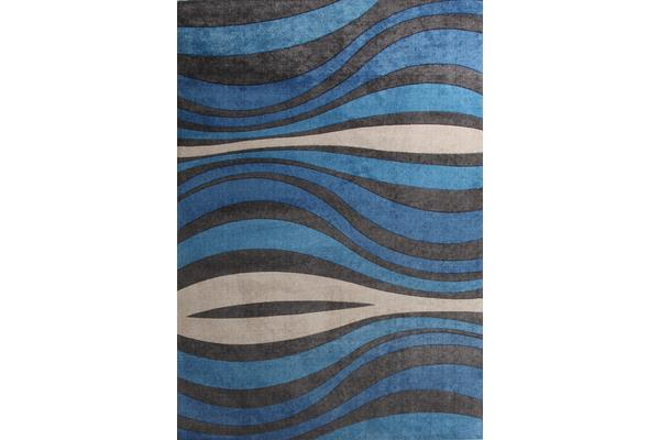 Retro Waves Rug Blue Charcoal 160x110cm