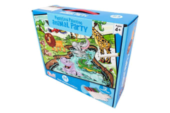 Colour Your Own Puzzle - Animal Party Floor Puzzle - 24 Piece