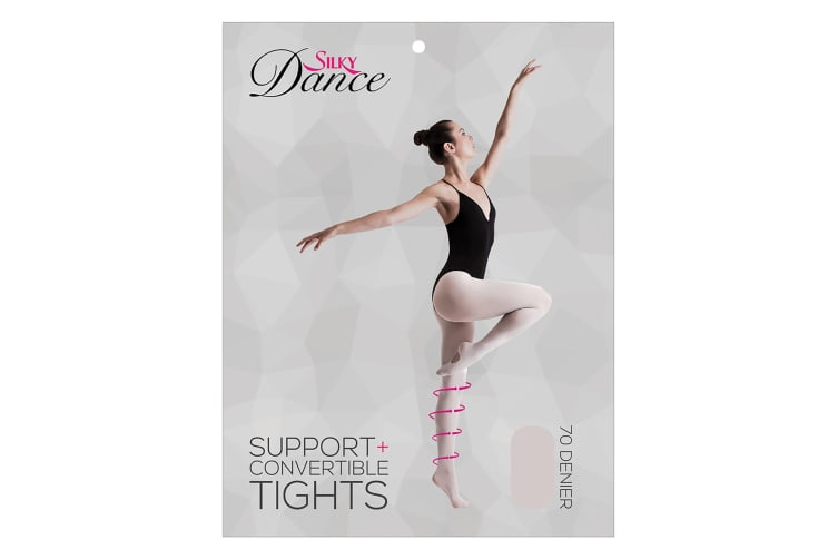 Silky Womens/Ladies Convertible Dance Support Tights (1 Pair) (Pink) (Large)