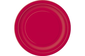 Unique Party Paper Party Plates (Pack Of 16) (Ruby Red)
