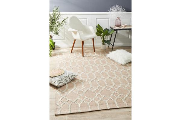 Ryder Nude & Natural White Upcycled Textured Rug 225x155cm