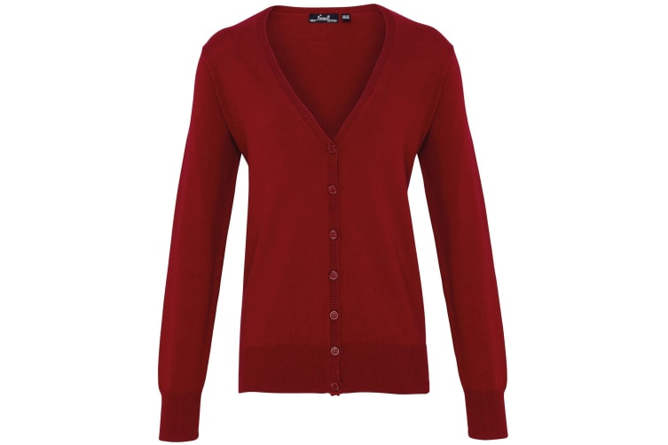 Premier Womens/Ladies Button Through Long Sleeve V-neck Knitted Cardigan (Burgundy) (18)