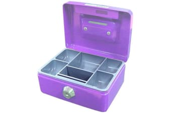 Purple Mini Portable Sturdy Metal Cash/Money Box Organiser/Coins/Safe/Keys/Lock