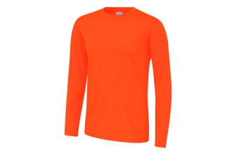 Just Cool Mens Long Sleeve Cool Sports Performance Plain T-Shirt (Electric Orange)