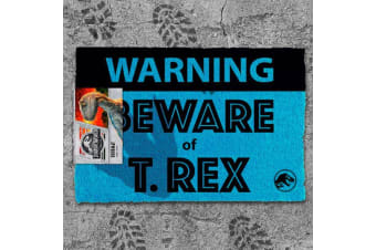 Official Jurassic World Beware of T-Rex 3D Footprint Door Mat
