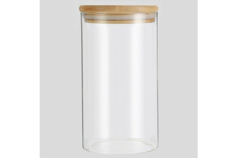 1 x Glass Jar Food Storage Bottles Sealed Cans Bamboo Lid Air Tight Container 1.2L