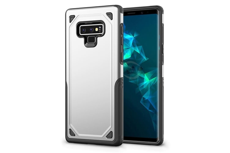 For Samsung Galaxy Note 9 Back Cover Silver Rugged Armour Protective Cover