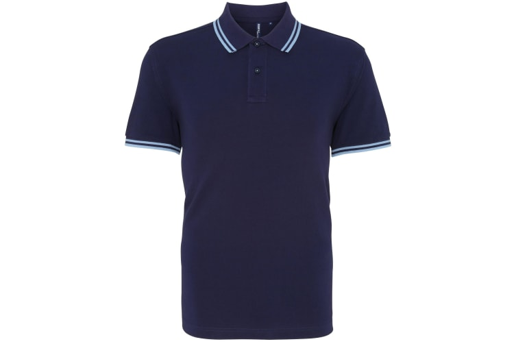Asquith & Fox Mens Classic Fit Tipped Polo Shirt (Navy/ Cornflower) (3XL)