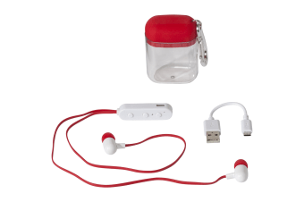 Bullet Budget Bluetooth Earbuds In Carabiner Case (Red) (7 x 4.9 x 2.9 cm)