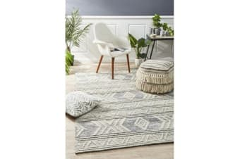 Ryder Natural White & Grey Bohemian Wool Textured Rug 225x155cm