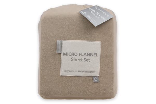Apartmento Micro Flannel Sheet Set Taupe (Double)