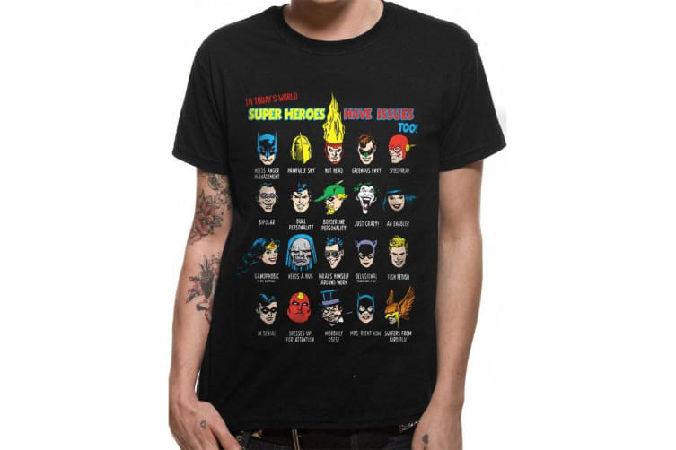 Justice League Unisex Adults Superhero Issues T-Shirt (Black) (XL)