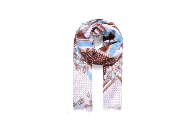 Intrigue Womens/Ladies Spots And Stripes Floral Print Scarf (Coffee/Blue) (One Size)
