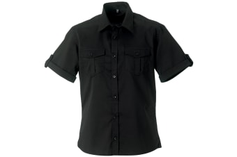 Russell Collection Mens Short / Roll-Sleeve Work Shirt (Black) (4XL)