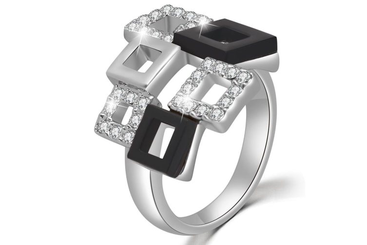 Checkers Crystal Ring Embellished with Swarovski crystals Size US 8