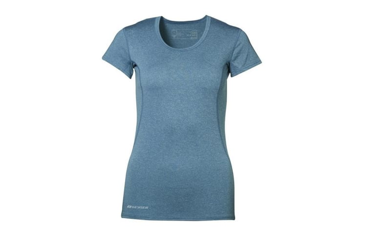 ID Womens/Ladies Active Short Sleeve Fitted Sport T-Shirt (Petrol melange) (S)