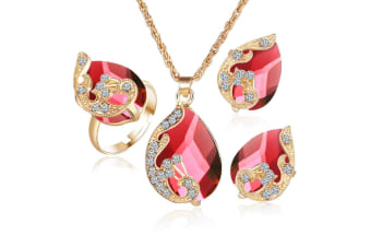 3Pcs Droplet-Type Pendant Necklace Earring Suit - Red Red