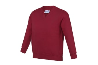 AWDis Academy Childrens/Kids Junior V Neck School Jumper/Sweatshirt (Pack of 2) (Claret) (9-10 Years)